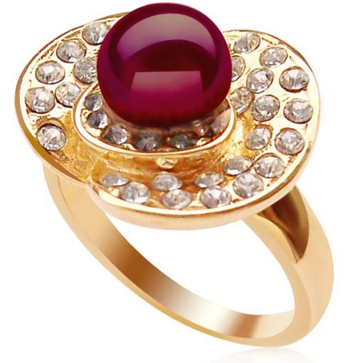 Cranberry 7-8mm Freshwater Pearl Ring, 18K YG Overlay