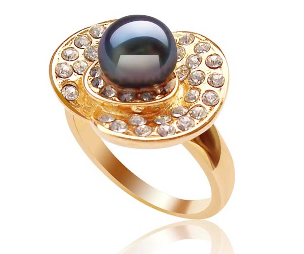 Black 7-8mm Freshwater Pearl Ring, 18K YG Overlay
