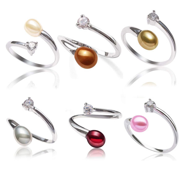 White, Chocolate, Hot Golden Rod, Grey, Cranberry and Baby Pink 5-6mm Adjustable Sized Pearl Ring