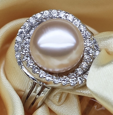 Pink Large 10-11mm Pearl Rings, Adjustable