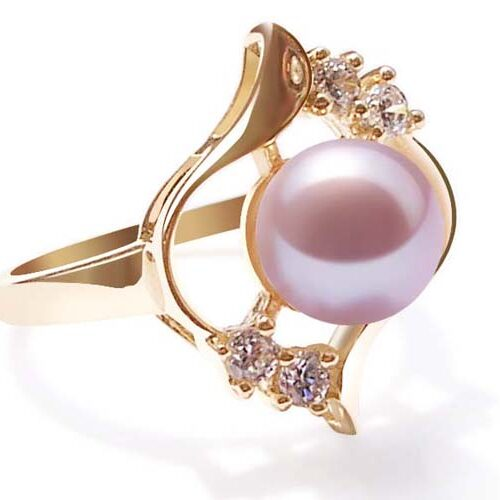 Pink 8-9mm Round Pearl Ring in 14k Solid YG with Lab Created Diamonds