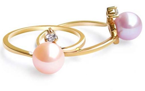 Pink and Mauve 7-8mm AAA Round Pearl Ring, 14K Solid YG