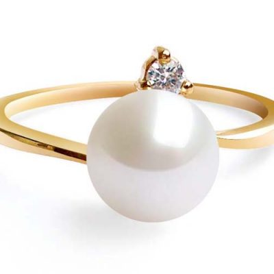 White 7-8mm AAA Round Pearl Ring, 14K Solid YG