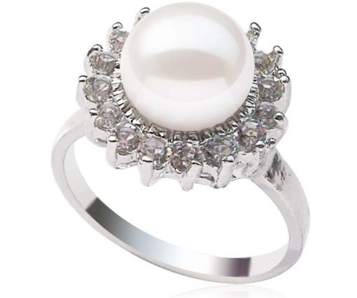 White Genuine 9-10mm Freshwater Pearl Ring, Silver