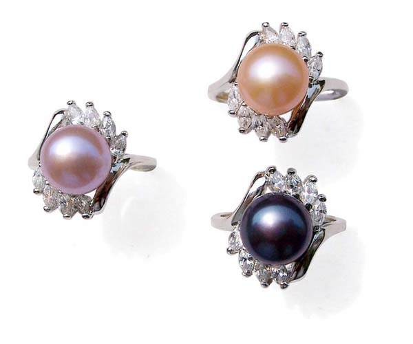 Pink, Mauve and Black 9.5-10mm Large Pearl SS Ring in Cz Diamonds