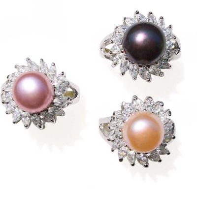 Lavender, Black and Pink 10-10.5mm Pearl SS Ring