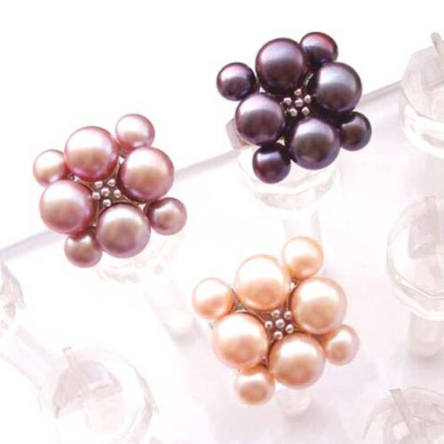 Pink, Black and Mauve Adjustable Cultured Pearl Ring, Stamped 925