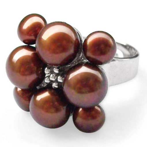 Chocolate Adjustable Cultured Pearl Ring, Stamped 925