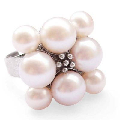 White Adjustable Cultured Pearl Ring, Stamped 925