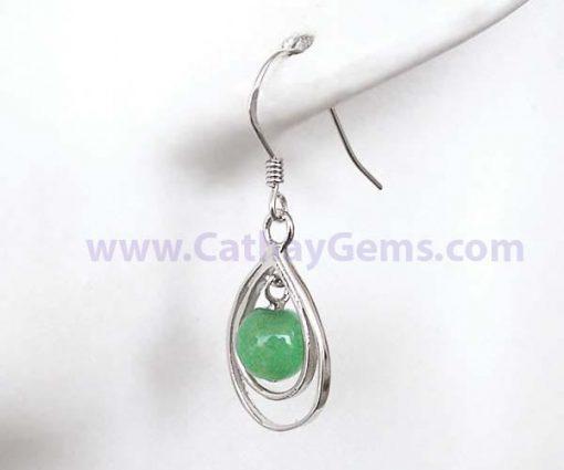 Green 6-7mm Genuine Jade Earrings in Double Hoops, 925 SS