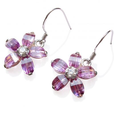 Light Purple Flower Shaped Crystal 925 SS Earrings