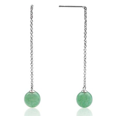 Green Jade 8-9mm Dangle Earrings, 925 SS