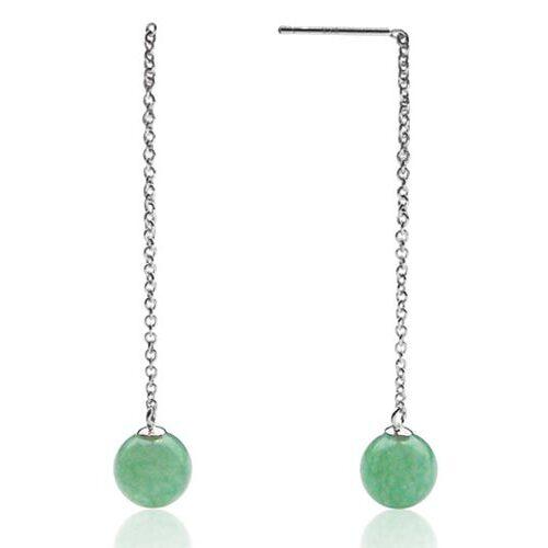 Green Jade 8-9mm Dangle Earrings, 925 SS
