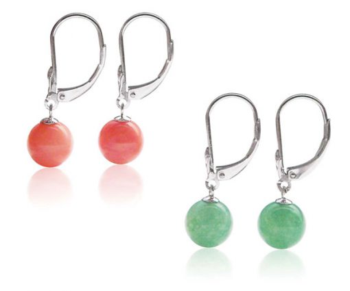 Pink and Green Coral 8-9mm Silver Leverback Earrings