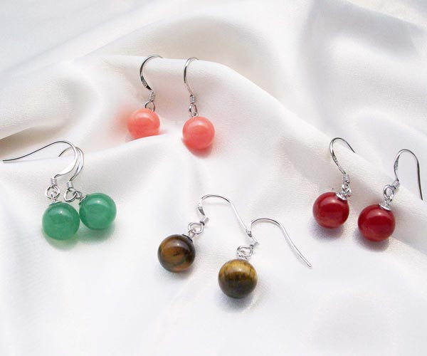 Turquoise, Jade, Coral and Tigers Eye 8-9mm Earrings, 925 SS