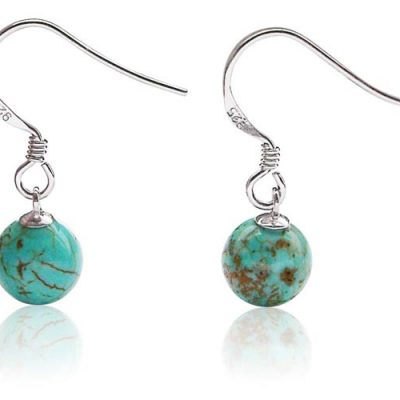 Turquoise 8-9mm Earrings, 925 SS