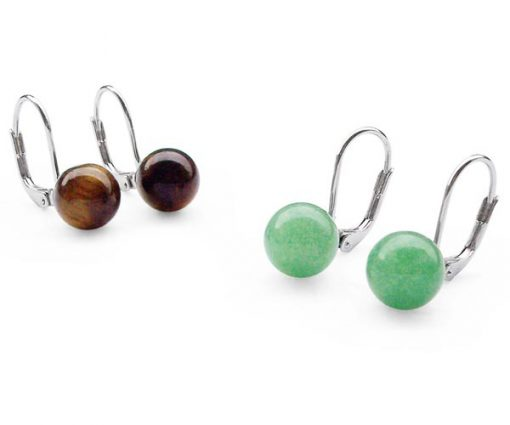 Tigers Eye and Green Jade 8mm Earrings, 925 Silver Leverback