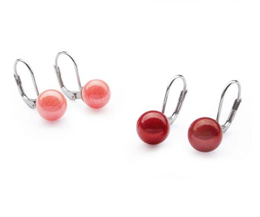 Pink and Red Coral 8mm Earrings, 925 Silver Leverback