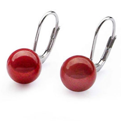 red coral leverback 925 sterling silver earrings