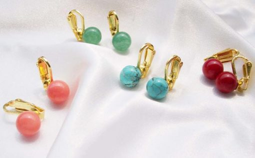 Pink Coral, Green Jade, Blue Turquoise and Red Coral 8-9mm Clip-on Earrings, 925 SS