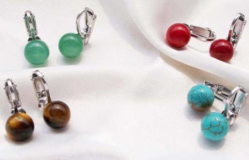 Green Jade,Tigers Eye, Red Coral and Blue Turquoise 8-9mm Clip-on Earrings, 925 SS