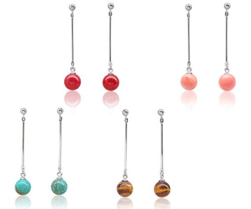 Red Coral, Tigers Eye, Blue Turquoise and Pink Coral 8mm Dangle Earrings, 925 SS
