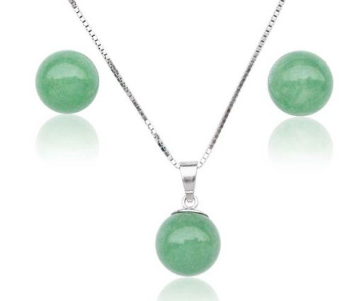 Jade 8mm and Pendant in 925 SS, 16in Free Chain