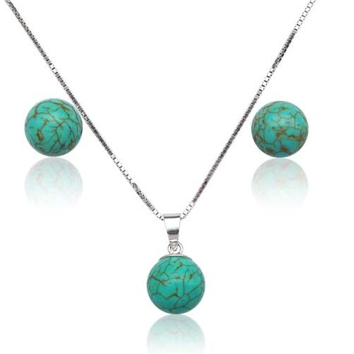 Turquoise 8mm and Pendant in 925 SS, 16in Free Chain