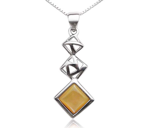 Yellow Cascading Square Seashell Pendant in 925 SS