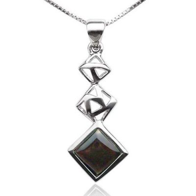 Black Cascading Square Seashell Pendant in 925 SS