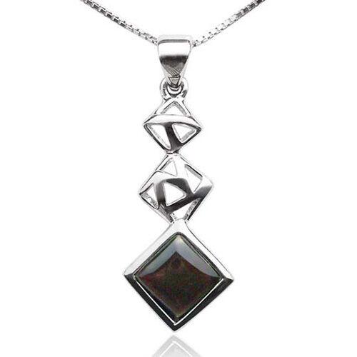 Black Cascading Square Seashell Pendant in 925 SS
