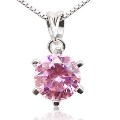 Pink 925 SS Round CZ Diamond Necklace