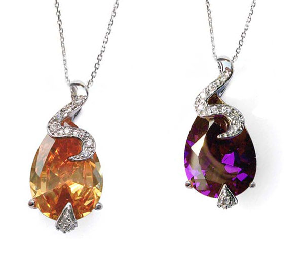 Champagne and Purple Large Drop Shaped and Tiny Round CZ Diamonds Silver Pendant