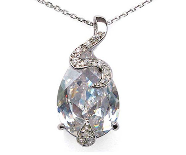 Clear Large Drop Shaped and Tiny Round CZ Diamonds Silver Pendant