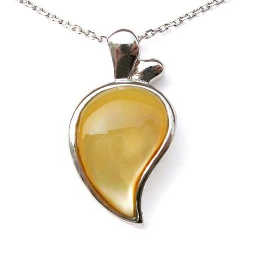 Yellow Half Heart Shaped Seashell Pendant in 925 SS