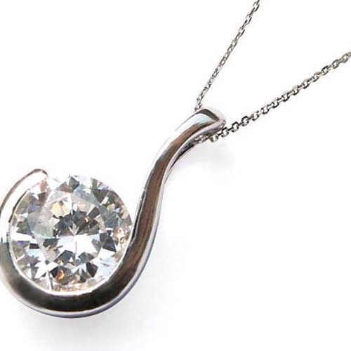 J Initial Silver Pendant with a Round CZ