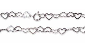925 SS Heart Shaped Hollow Links Chain