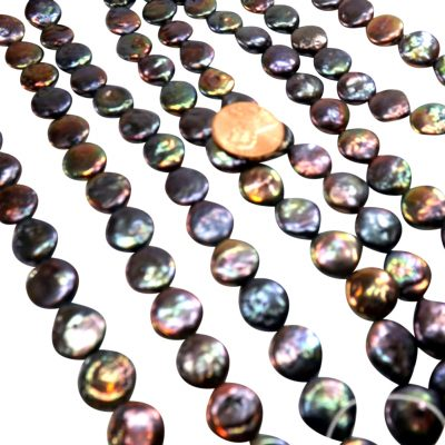 11-12mm Round Black Coin Pearl Strand
