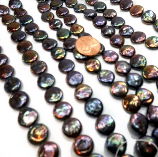 Black colored coin pearl strands