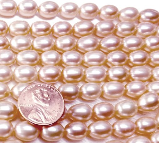 Gem Quality 8-9mm Rice Oval Shaped AAA Mauve Pearl Strand