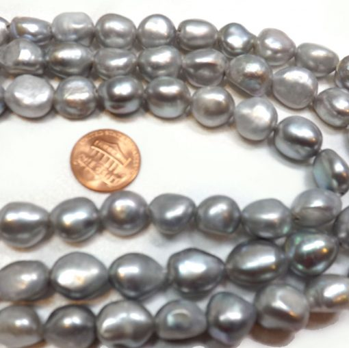 grey colored large baroque pearl strands
