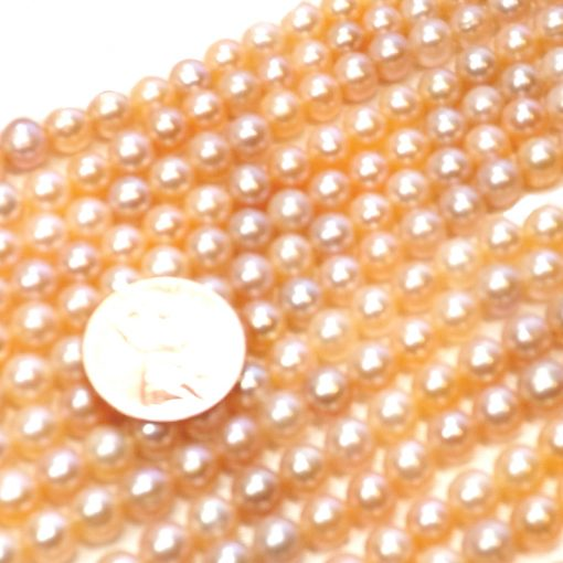 6-7mm Round AA+ Pink Pearls Strand Drilled Larger Holes