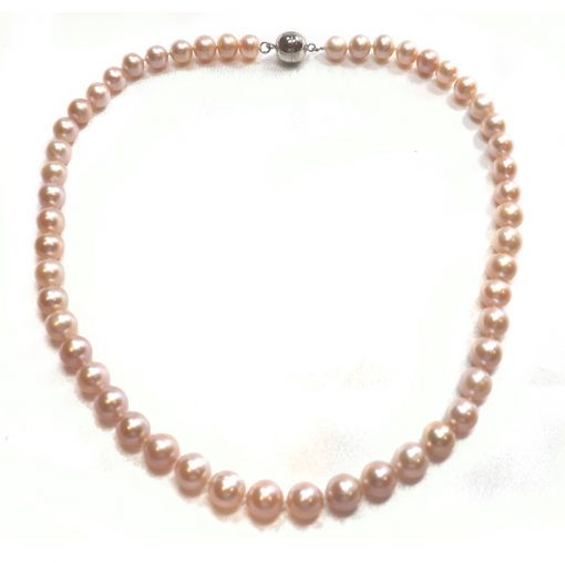 Mauve colored 8-9mm round pearl necklace with magnetic clasp
