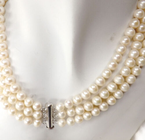 jackie o pearl necklace white colored pearls