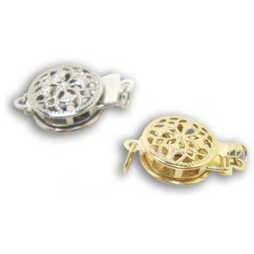 14K Yellow or White Gold for Single Row Pearls Round Clasps