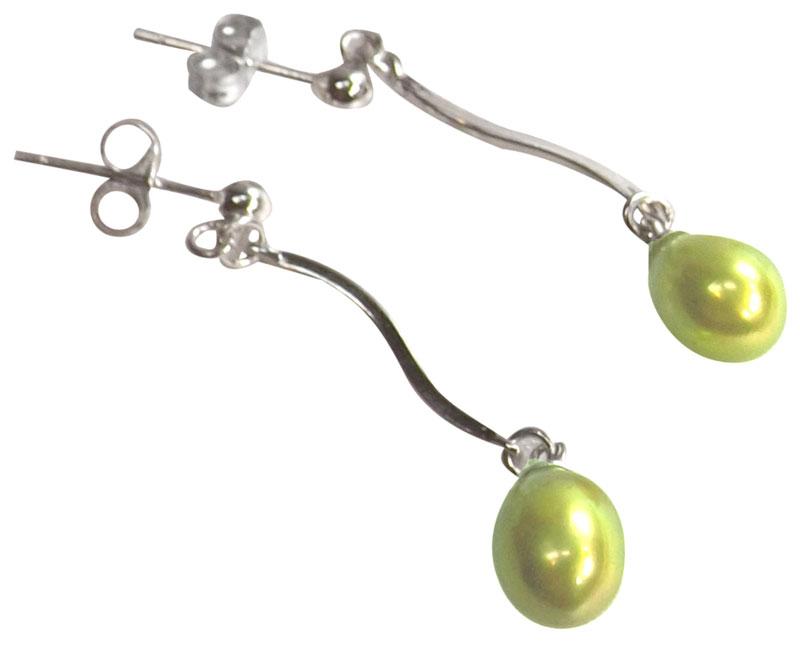green pearl sterling silver earrings