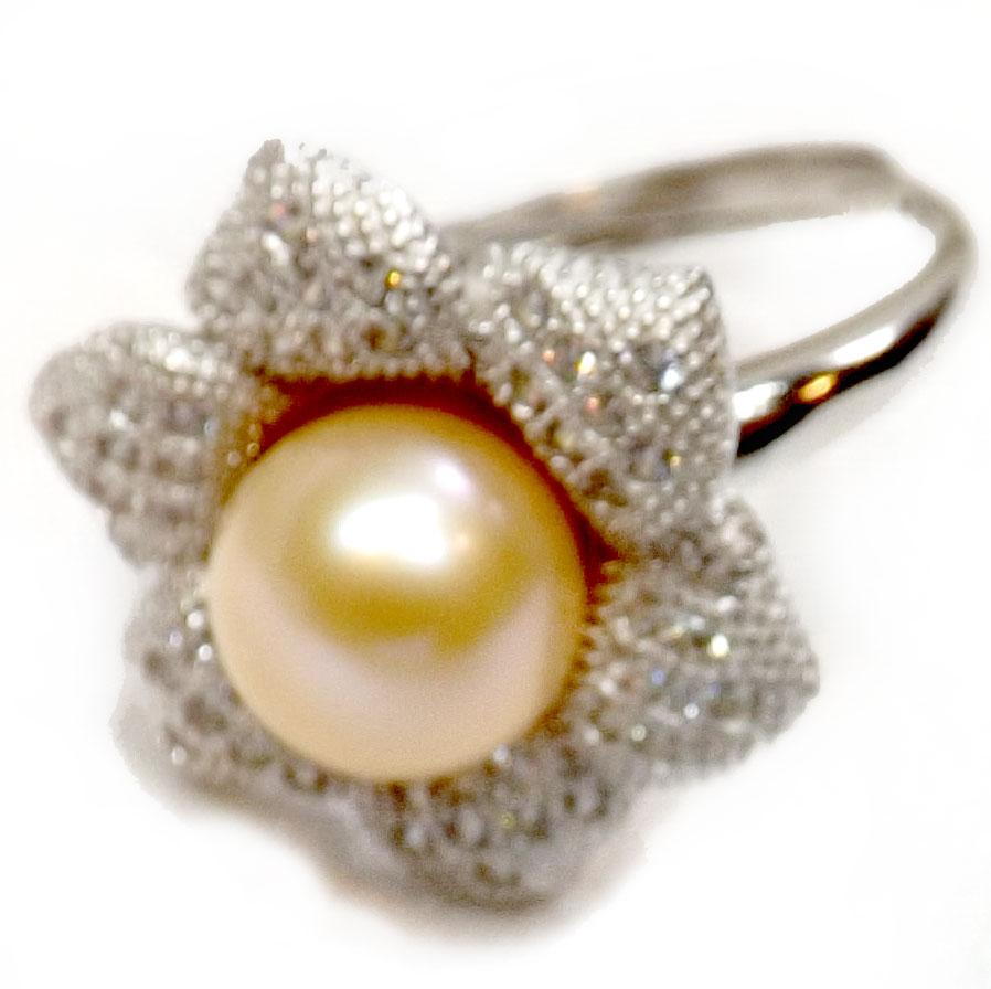 Gorgeous 9-10mm Large Pearl Ring 925 Sterling Silver