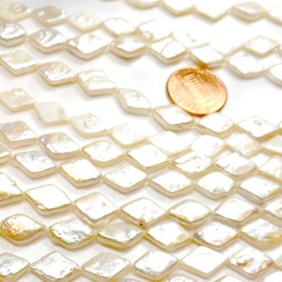 Rhombus Shaped White Coin AAA Pearls