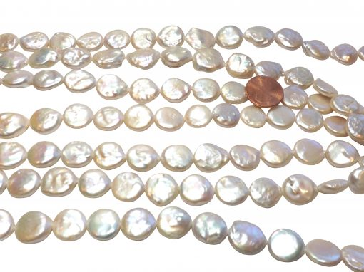 Chunky Coin Pearls 13-14mm to 14-15mm on a Temporary Strand