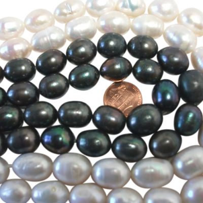 12-15mm Large Rice Drop Black and White Pearl Strands